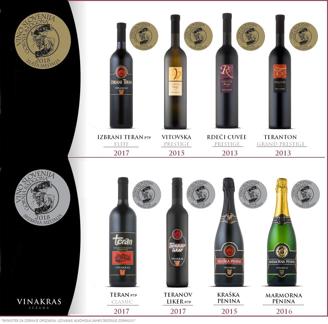 Vino Slovenija medalje vin Vinakras